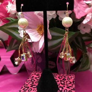 Betsey Johnson Stone & Lucite Petal Drop Earrings